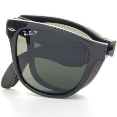 Ray-Ban Foldable Wayfarer Black And Green Lens Sunglasses