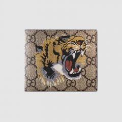 GG Supreme Tiger Head Leather Wallet