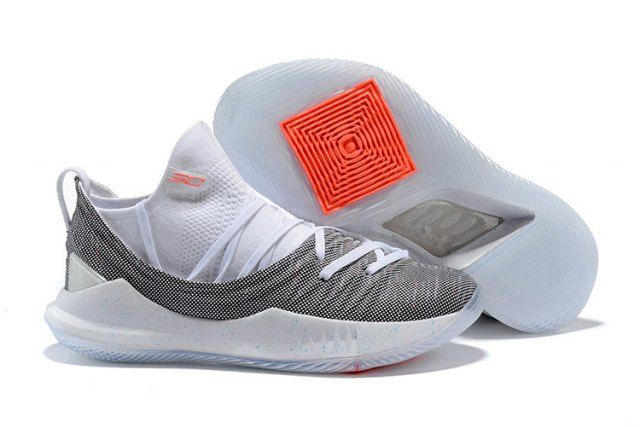Under Armour Curry 5 Low Wolf Grey White Mens Basketball Shoes Sneakers