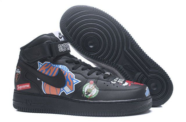 N A F 1 Supreme  NBA AF1 Black  Men's Casual Shoes