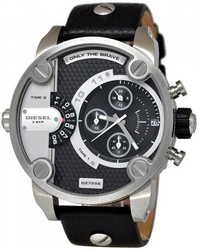 Diesel Little Daddy DZ7256 Silver Dial Black Leather Men's Watch