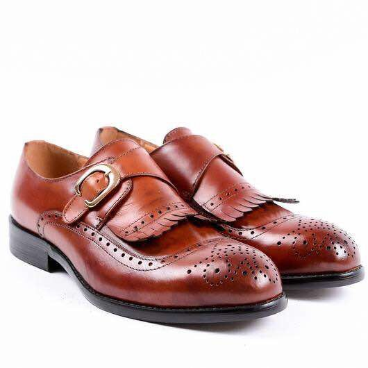 John Foster Single Monk Fringed Brogues - Brown