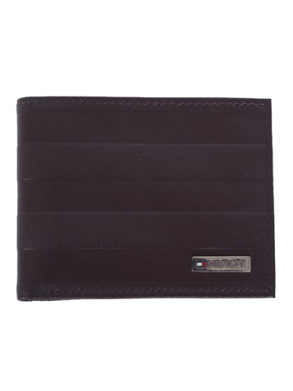 Tommy Hilfiger Men's Leather Hove  Billfold Wallet -Coffee Brown