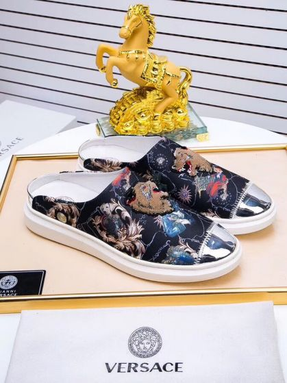 Versace multicolour barocco backless sneakers