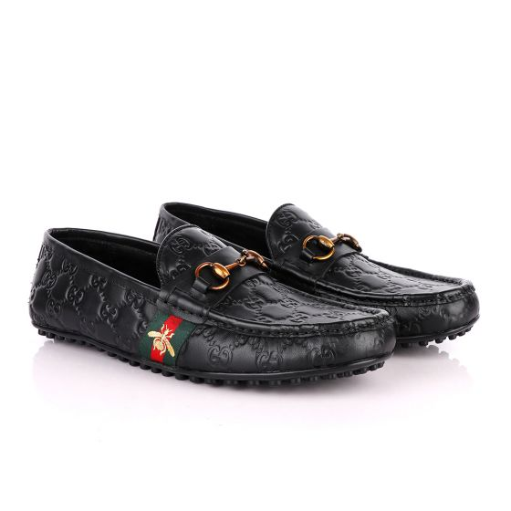 Gucci Logo Crested Black Leather Driver