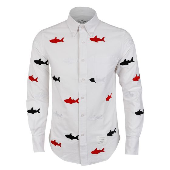 Thom Browne Classic Multiple Fish Oxford White Shirt