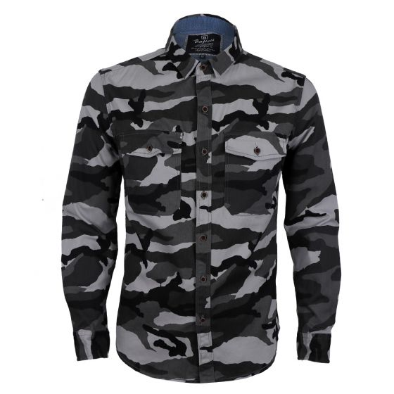 Bajieli Vintage Camo Linen Casual Men Button Down Long Sleeve Shirts