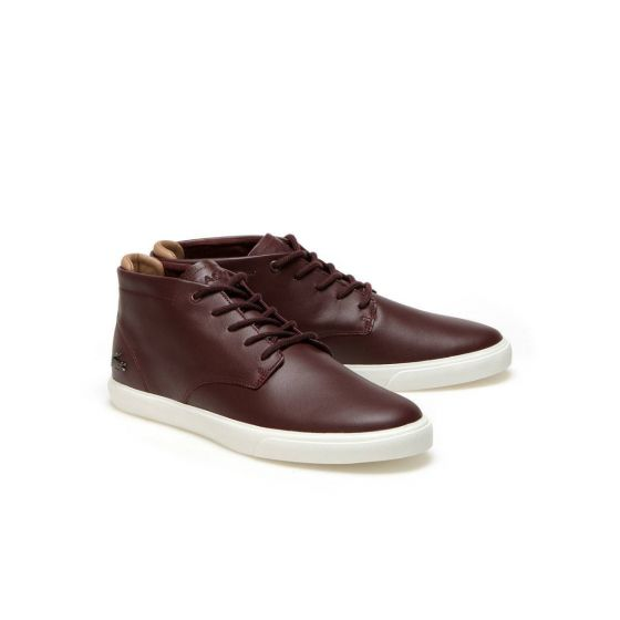 Lacoste  ESPERE MEN'S CHUKKA LEATHER TRAINERS  OXBLOOD