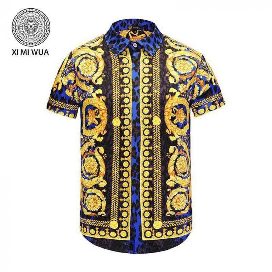 VE Vintage Fit Blue Yellow & Tiger Skin Print  Men's short sleeve Shirt