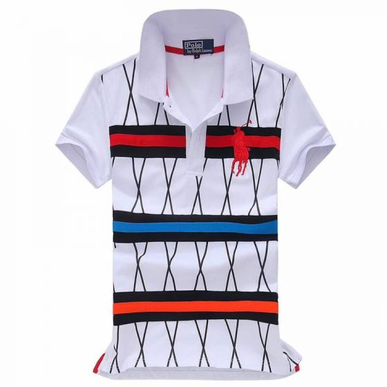 Ralph Lauren Strip Colorful Pony in white Red polo