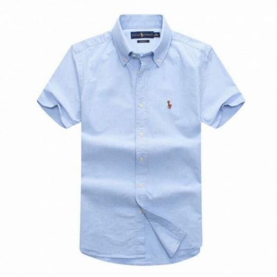 PRL Classic Fit Oxford Button-Down Pony Logo Shortsleeve Shirt - Sky Blue