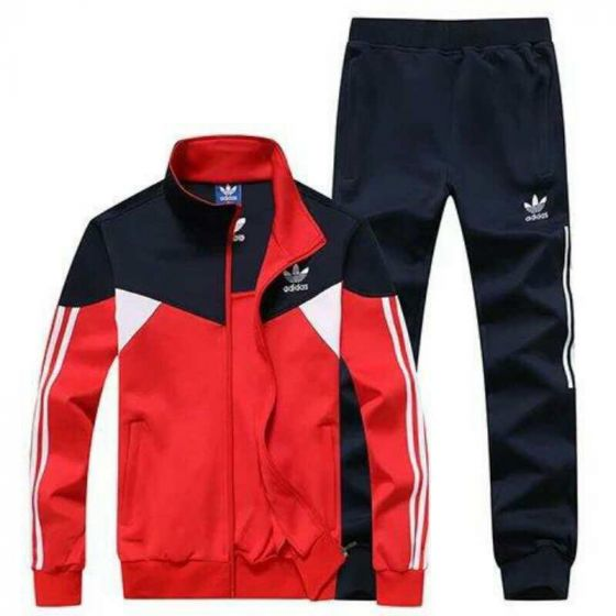 Adidas Tracksuit Crested Logo Navyblue Dual Color - Red