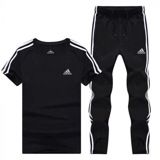 Adidas 3 Stripe Climalite Clover Short Sleeve Tracksuit Black and White