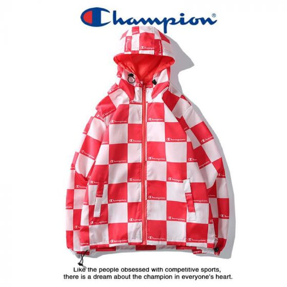 Champion Colorblock Hoodie Sweat Shirt Red and White