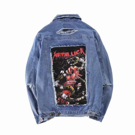 Fear of God Fashion Jeans Blue Embroidery Metalic Denim Jacket