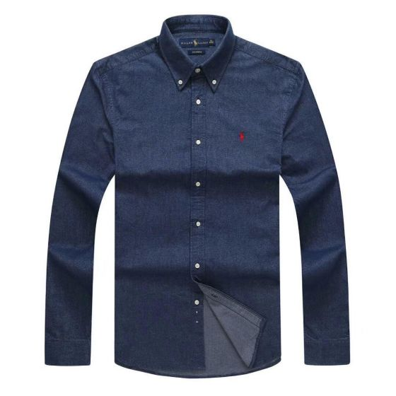 PRL Classic Fit Denim Long sleeve Shirt-Blue