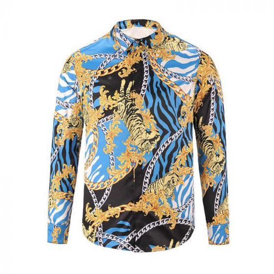Vintage VE Quilted Silk  Baroque Longsleeve Shirt -Blue