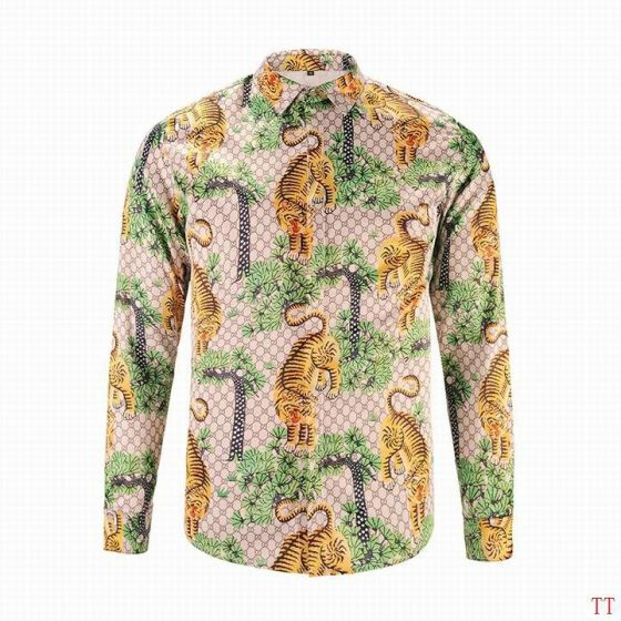 GG Tiger Print Long-sleeved Shirt Multicolor