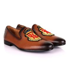 Billionaire Embroidery Exotic Men's Leather Shoe-Brown