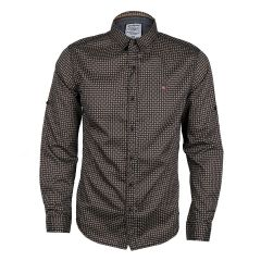 Badgley Dotted Well Styled Shirt- Brown