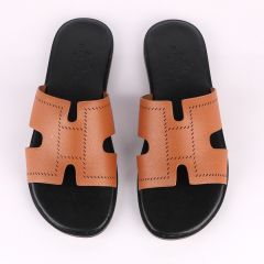 Hermes Paris Brown Black Pattern Design Leather Slippers