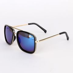 Lacoste Branded Styling Black And Blue Lens Sunglasses