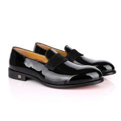 John Foster Bow Suede Patent Wetlips Black Loafers Shoe