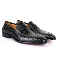 LoriBlu Vero Croc Block Black Leather Shoe