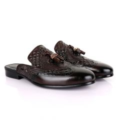 Billionaire Couture Crafted Mole Tassel Coffee Leather Half Shoe