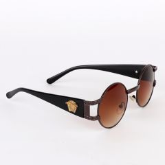 Versace Exclusive Round Brown Crested Sunglasses