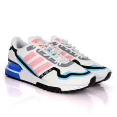 Adidas ZX 750 HD White Sneakers With Classic Peach And Royal Blue Designs