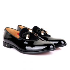 John Foster Modern Patent Leather With Half Upper Suede-Black