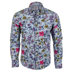 Badgley Executive Floral Print Blue Long Sleeve Shirt