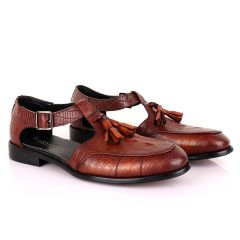 Billionaire Exotic Brown Croc with Tassel Cover Leather Sandal