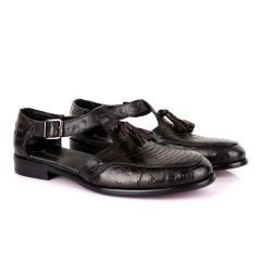 Billionaire Exotic Coffee Croc with Tassel Cover Leather Shoe