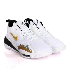 Original Air Jordan Zoom White Sneakers With Black And Classic Gold Logo Design