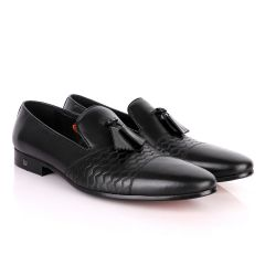 John Foster Simplified Design Tassel Black Leather Formal Shoe