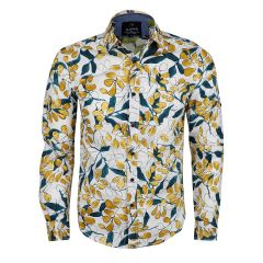 Badgley Finest Quality Yellow Floral Print LongSleeve White Shirt
