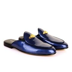 Gianfrranco Butteri Half Shoe With Gold Logo-Royal Blue