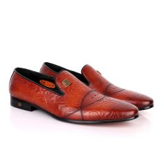 John Foster Flower Pattern Design Brown Leather Formal Shoe