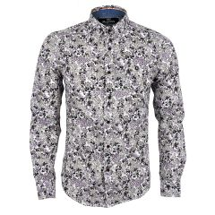 Bajieli Man's Vintage Floral Printed Shirts White  Long Sleeve