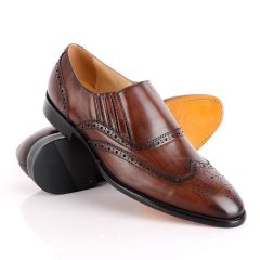 John Foster Coffee Slip On Brogue Shoe