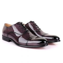 John Mendson Laceup Glossy Purple Leather Shoe