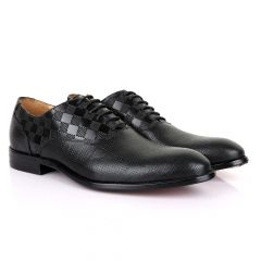 Berluti Half CheckBoard Oxford Black Leather Shoe