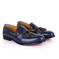 John Mendson Blue with  Brown Tassel Loafers