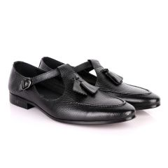 Thom Browne Tassel woven pattern Black Leather Shoe