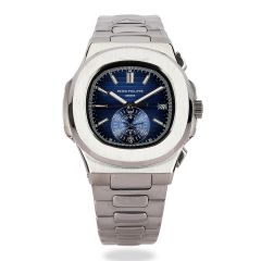 Patek Philippe Geneve Blue Face Stainless Steel Watch