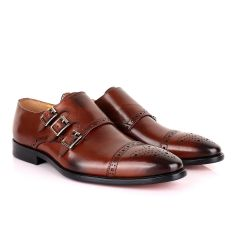 John Mendson 3 Buckle Strap Brown Leather Loafers