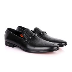 John Foster Half Woven With Black Crystal Design Leather Shoe-Black