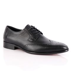 John Foster Black Derby Lace Up Brogue Shoe